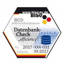 "Bild Prüfsiegel Datenbankcheck ""efficiency"""